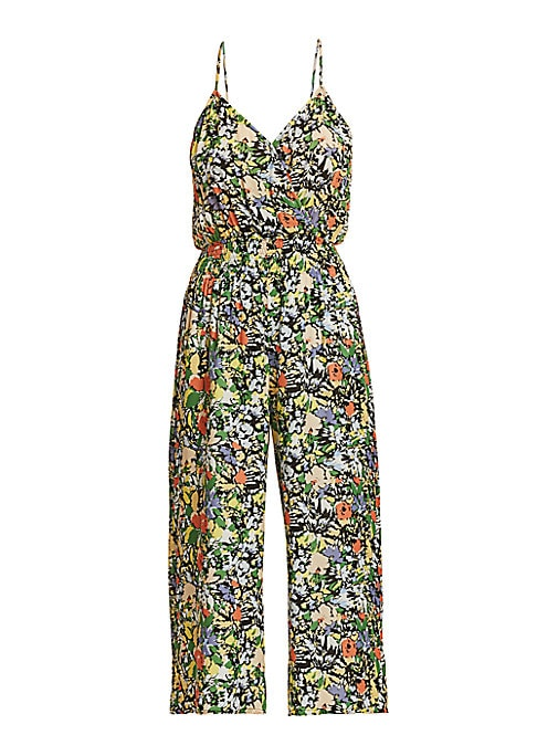 Floral jumpsuit with flattering smocked stitching and mod wide-leg. Surplice-neck Spaghetti straps Slip on style Smocked waist Lined Silk/viscose Dry clean Imported SIZE & FIT Cropped Wide-leg Inseam, about 24\\\