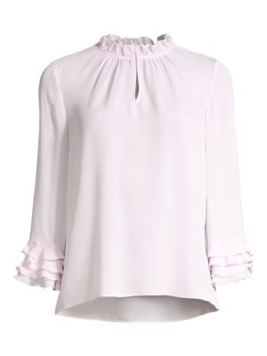 Rebecca Taylor Women's Ruffled Silk Georgette Blouse In Faded Lavender
