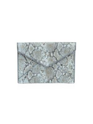 Rebecca Minkoff Women's Leo Snakeskin-embossed Leather Envelope Clutch In Cement
