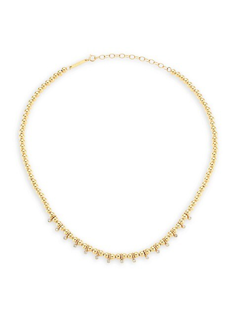 Bezel Diamonds 14K Yellow Gold & Diamond Beaded Necklace