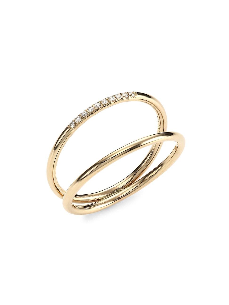 Zoë Chicco Women's 14k Yellow Gold & Diamond Double-band Ring