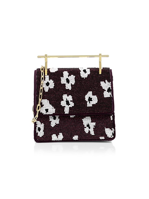 Mini Floral Beaded Top Handle Bag