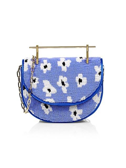 Mini Floral Beaded Top Handle Bag