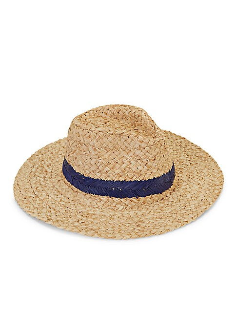 Contrasting trim lends a visual accent to this rustic raffia panama hat. Raffia Spot clean Imported SIZE Brim width, about 3.25\\\
