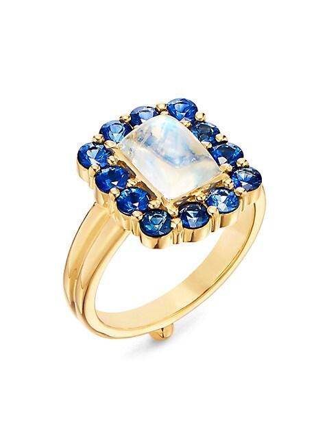Dreamcatcher 18K Yellow Gold, Blue Moonstone & Blue Sapphire Ring