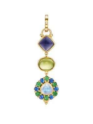 Temple St. Clair Women's Dreamcatcher Totem 18k Yellow Gold & Multi-stone Pendant