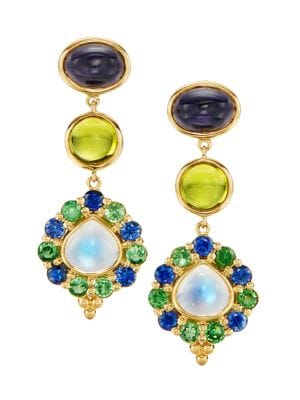 The V Collection earrings yellow gold plated green peridot fashion jewelry dangling earrings gifts for her