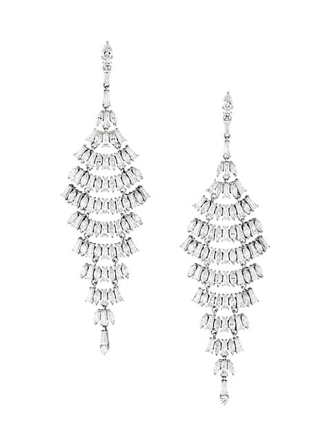 Silvertone & Cubic Zirconia Layered Chandelier Earrings