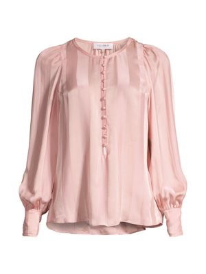 Rebecca Taylor Women's Striped Jacquard Silk-blend Blouse In Brush Rose