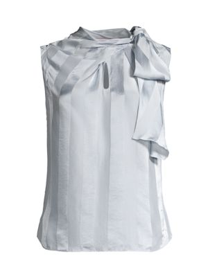 Rebecca Taylor Silks Tie-Neck Sleeveless Satin Stripe Blouse