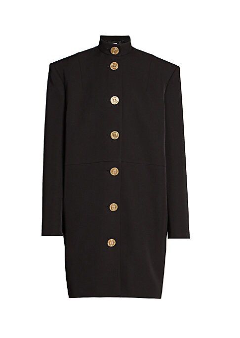 Goldtone logo coin buttons trim this stand-collar blazer dress while an oversized, menswear-inspired cut gives an urban feel. Stand collar Long sleeves Front button close Wool Dry clean Made in France SIZE & FIT About 40\\\
