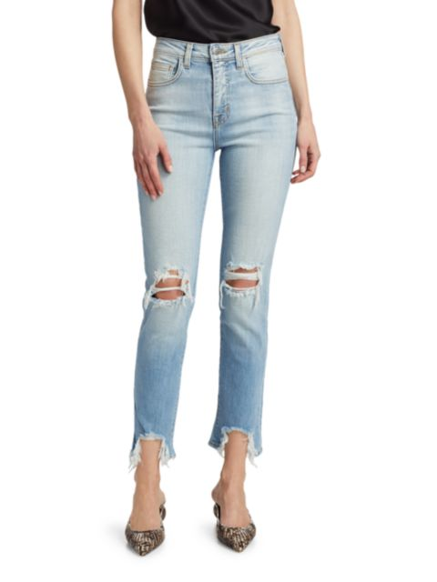 L'Agence High Line High-Rise Skinny Distressed Jeans | SaksFifthAvenue