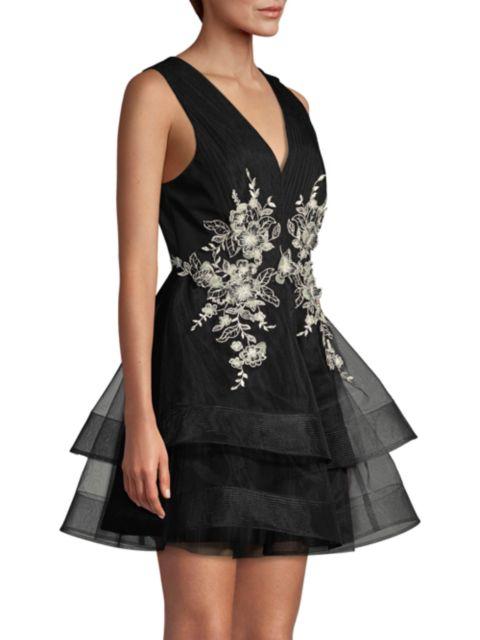 BCBGMAXAZRIA Tulle Embroidered Tiered Dress | SaksFifthAvenue