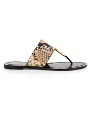 Tory Burch Patos Disk-Embellished Snakeskin-Embossed Leather Thong Sandals