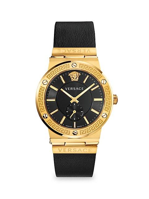 Greco Logo Goldtone Chronograph Leather Strap Watch
