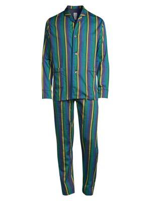 Paul Smith Men's 2-piece Striped Pajama Set In Green