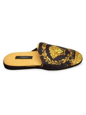 Versace Medusa-print Silk & Cotton Slippers In Black Gold