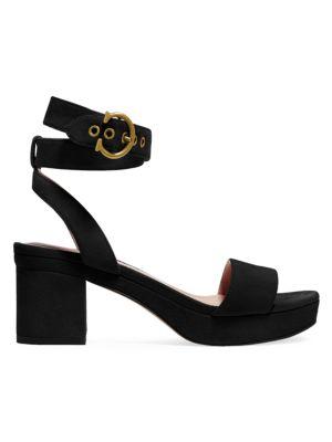 Coach Serena C-Buckle Suede Platform Sandals