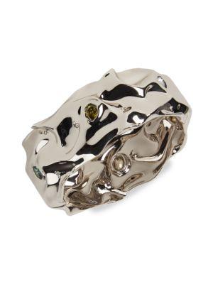 Alexis Bittar Multi-Stone Studded Crumpled Metal Hinge Bracelet