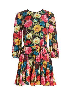 Alice Olivia Mina Floral Godet Dress Saks Com
