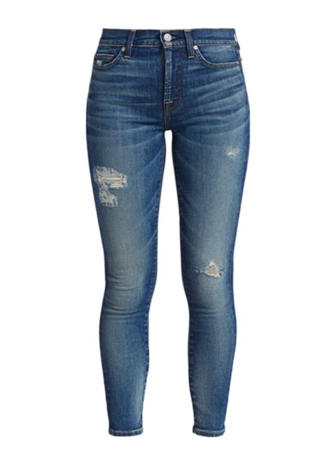 7 For All Mankind High-Rise Destroyed Ankle Skinny Jeans   SaksFifthAvenue