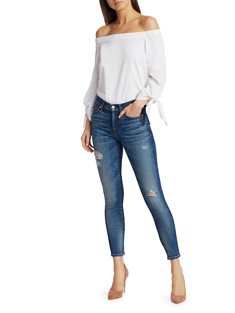 7 For All Mankind High Rise Destroyed Ankle Skinny Jeans Saksfifthavenue