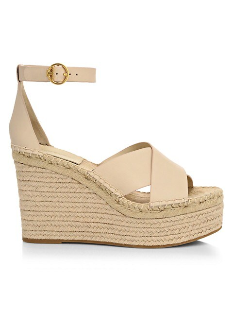 Tory Burch Selby Leather Platform Espadrille Wedges