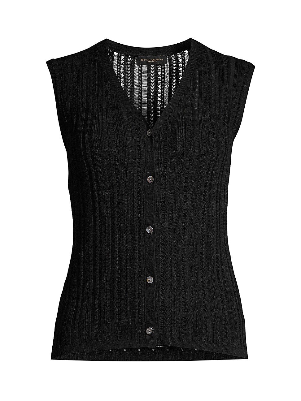 Donna Karan Women's Sleeveless Button-front Loose-weave Knit Top In Black