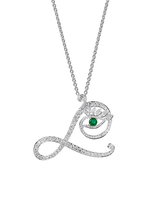 Eye 18K White Gold, Diamond & Emerald Loyal Pendant Necklace