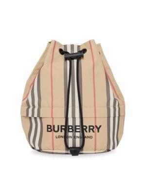Burberry Women's Phoebe Icon Stripe Drawstring Bucket Bag In Beige
