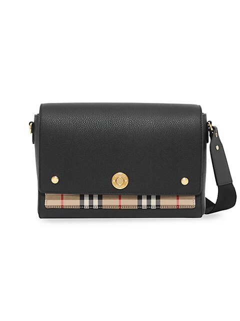 Medium Note Leather & Vintage Check Crossbody Bag