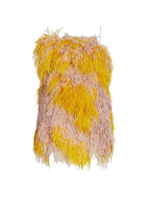 Strapless Feather Mini Dress