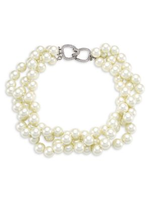 Kenneth Jay Lane Women's 3-row Twisted Glass Pearl Choker Necklace In Ivory