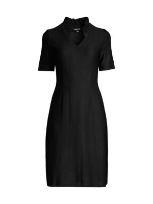 Misook Ruffle-neck Sheath Dress In Black
