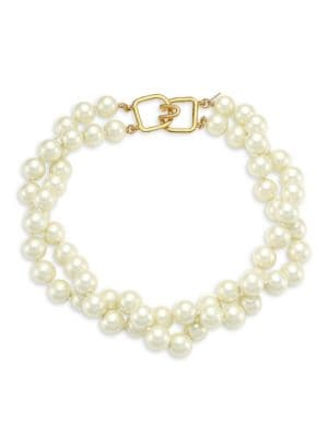 Kenneth Jay Lane Women's 2-row Twisted Glass Pearl Choker Necklace In Ivory