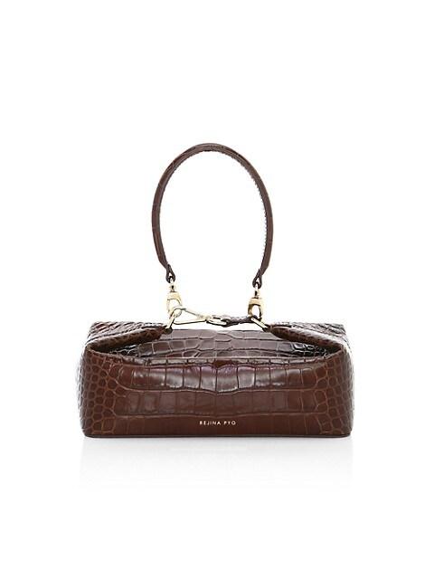 Olivia Croc-Embossed Leather Top Handle Bag