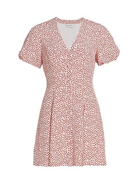 Aspen Heart-Print Silk Dress