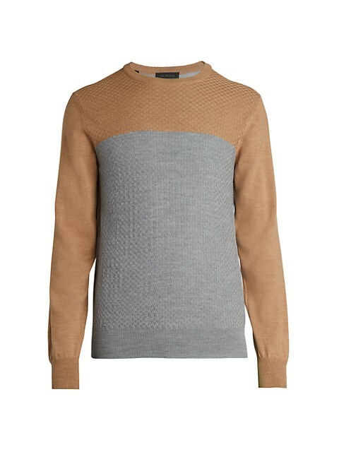 COLLECTION Colorblock Basket Stitch Wool Sweater