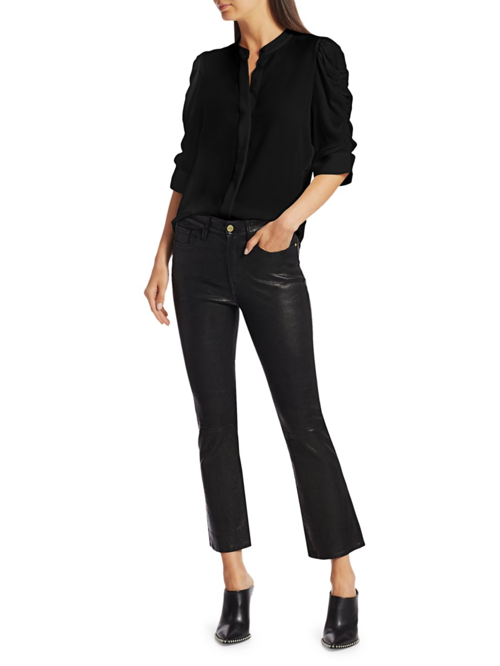 Frame Shirred-Sleeve Silk Shirt   SaksFifthAvenue