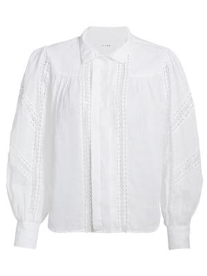 Frame Shirts Panel Lace Button-Up Shirt
