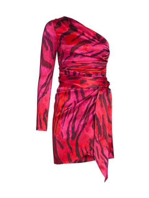 Adriana Iglesias Candela One-Shoulder Stretch-Silk Dress | SaksFifthAvenue
