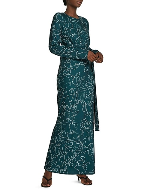 Get Em Girl Long-Sleeve Tie-Belt Maxi Dress