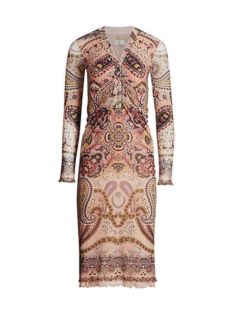 Paisley Ruched Jersey Midi Dress