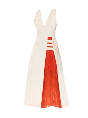 Alexis Ilan Mixed-Media Midi Dress