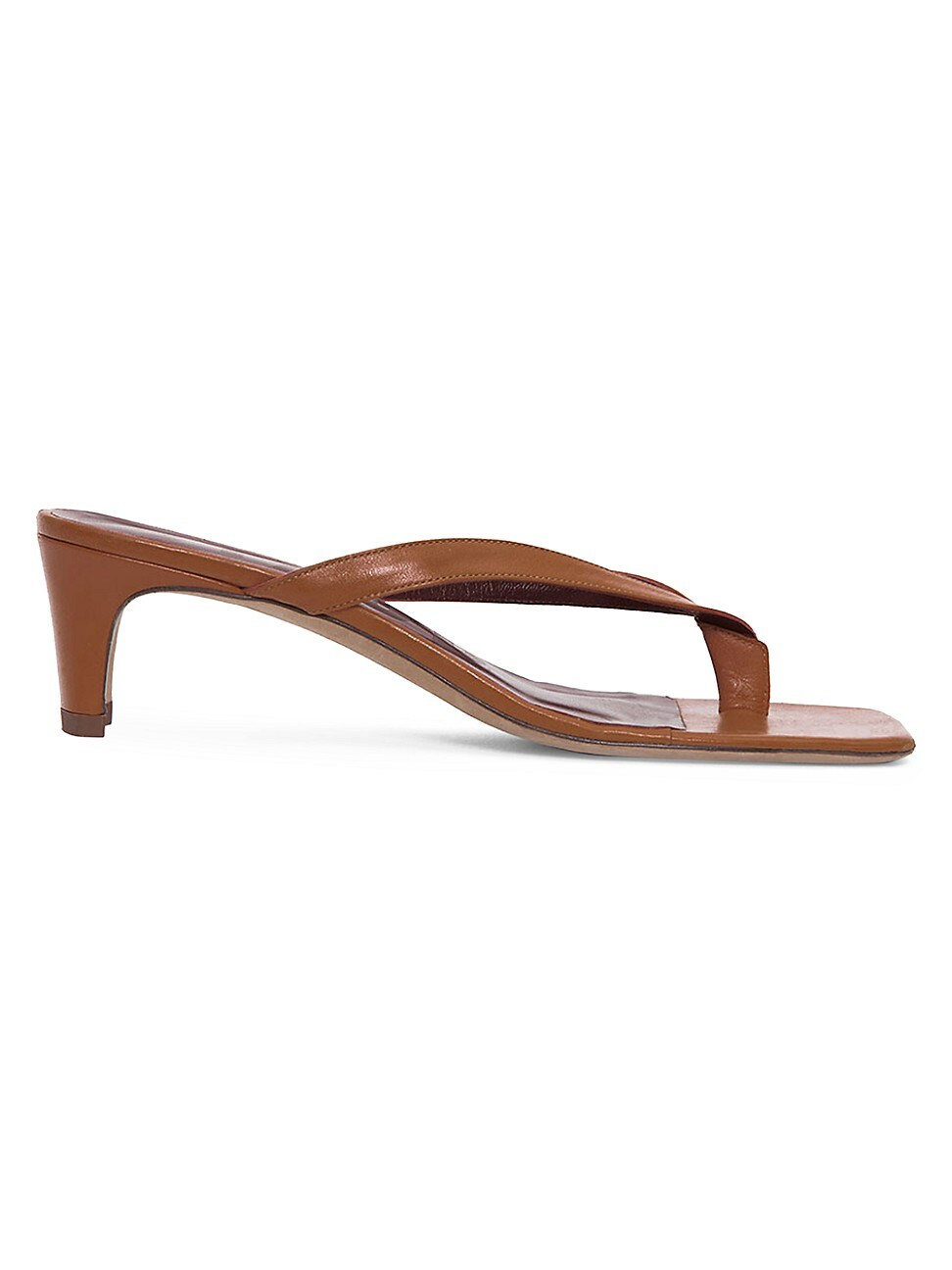 Staud Leathers WOMEN'S AUDREY SQUARE-TOE LEATHER THONG SANDALS