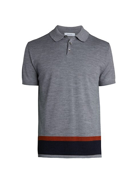 Contrast Stripe Wool Knit Polo Shirt