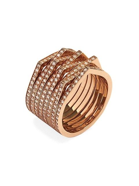 Antifer 18K Rose Gold & Pavé Diamond 8-Row Ring