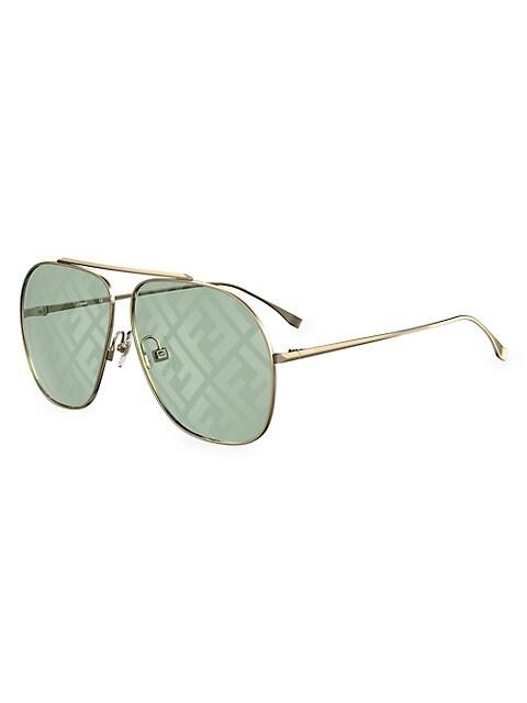 64MM Aviator Logo Sunglasses