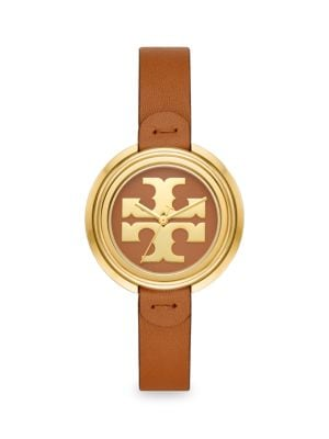 Tory Burch Watches The Miller Goldtone Stainless Steel & Leather Strap Watch
