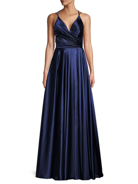 Faviana Charmeuse Pleated Ball Gown   SaksFifthAvenue